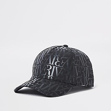Black monogram sun cap