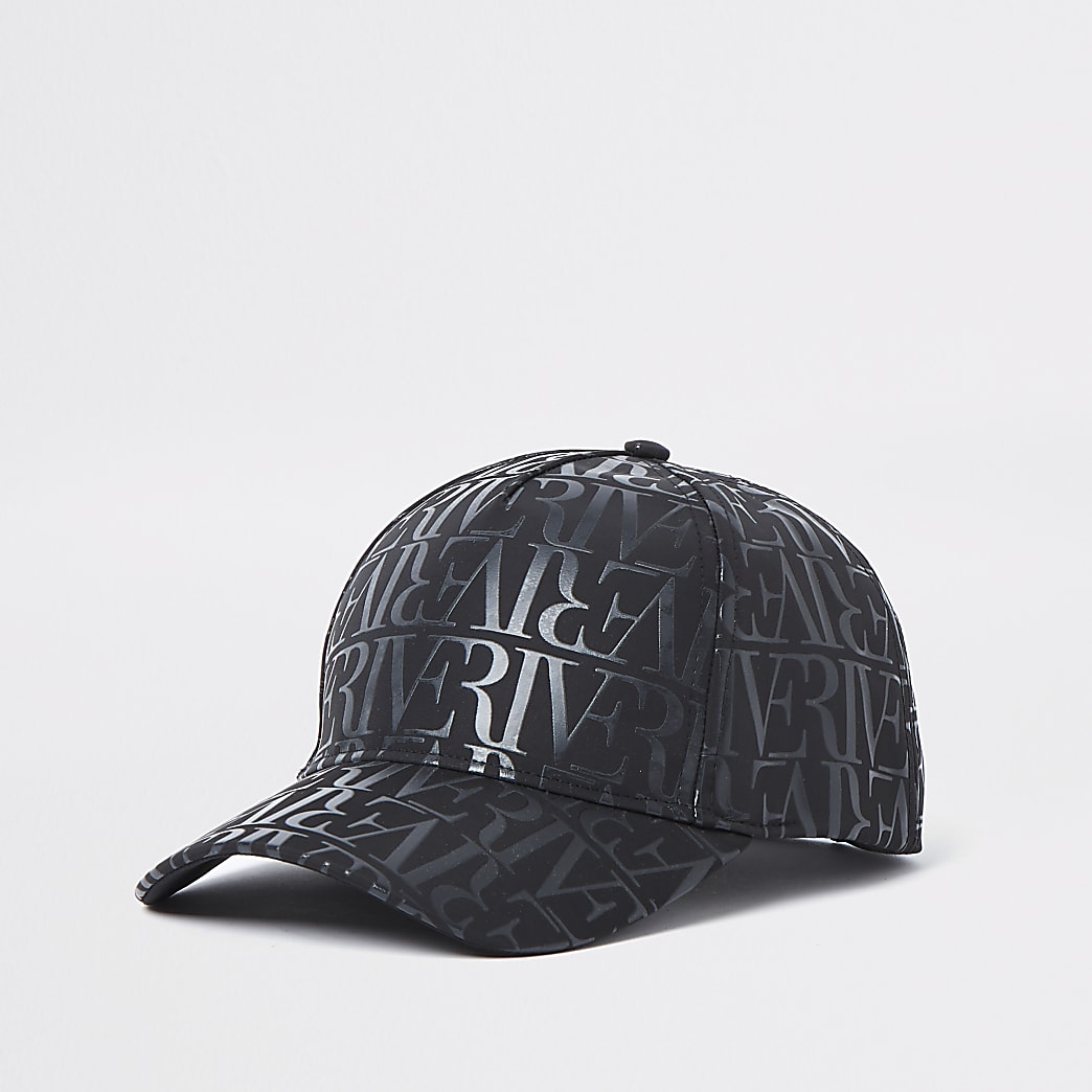 Black monogram sun cap