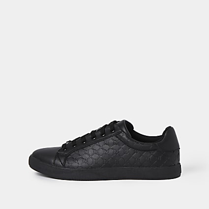 Black monogram trainers