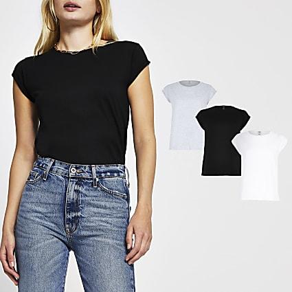 Black multi-coloured t-shirts 3 pack