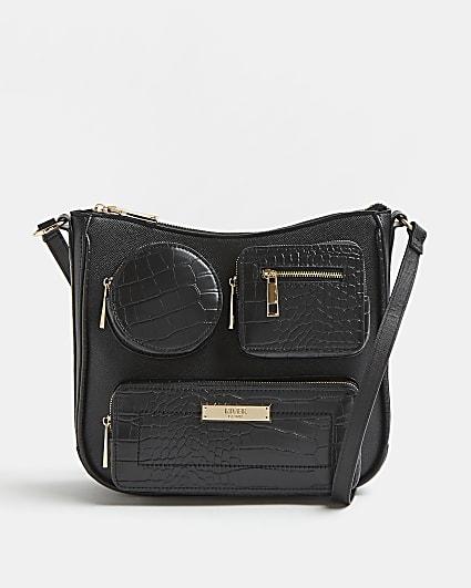 Black multi pocket messenger bag