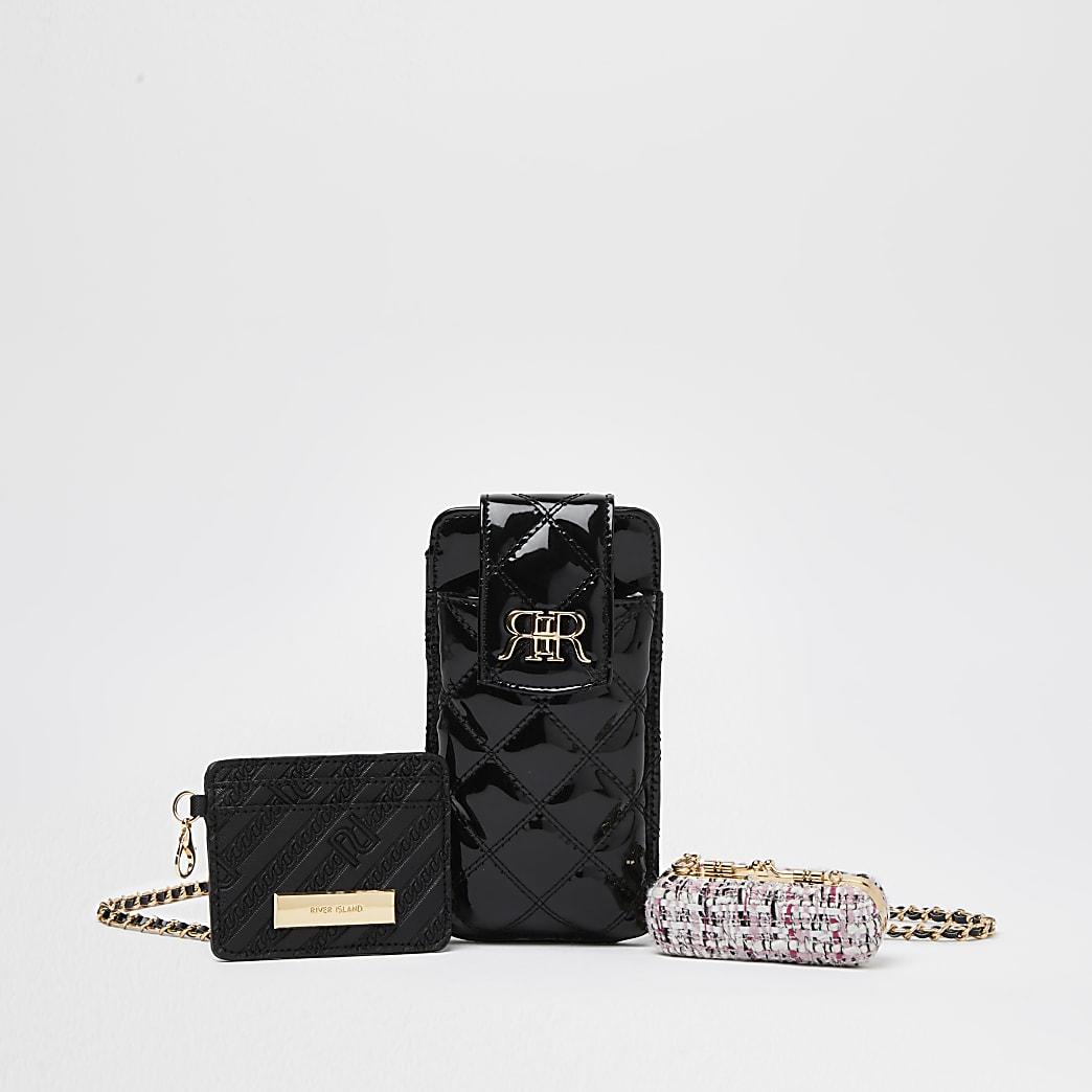 Black multi set pouch bags