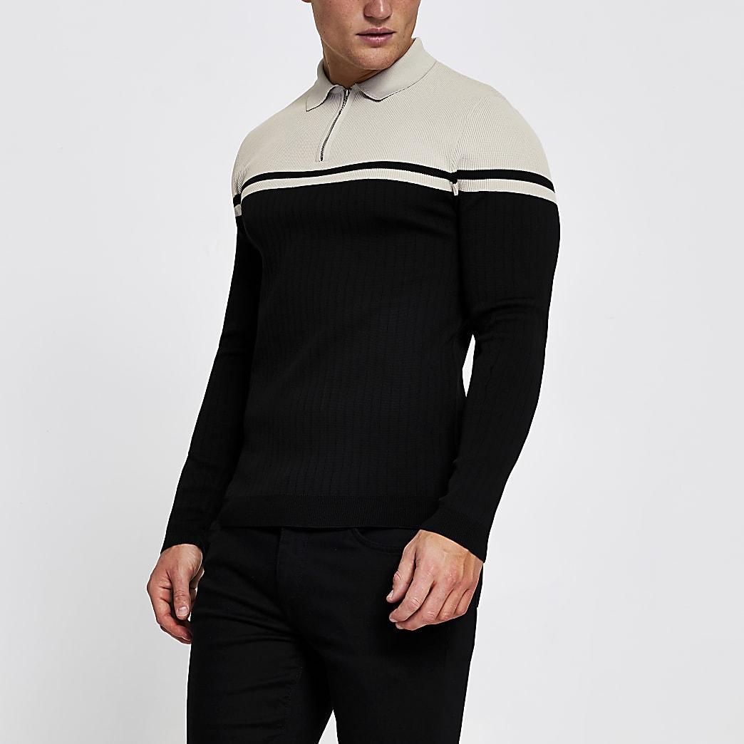 Black muscle fit block long sleeve polo shirt