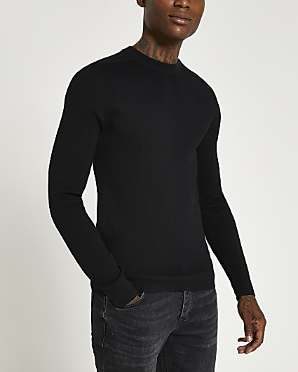 Black muscle fit cable knit jumper