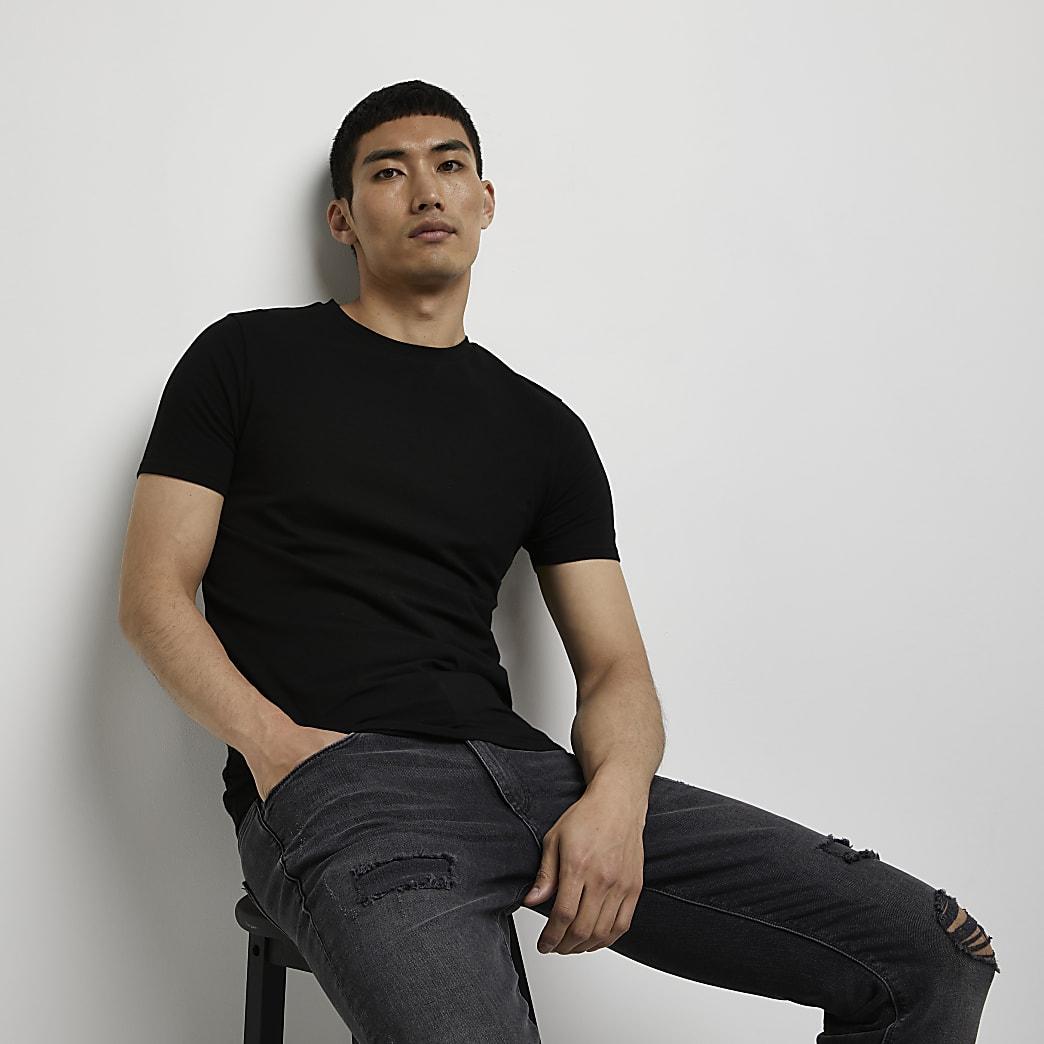 Schwarzes Muscle Fit T-Shirt mit Rundhalsausschnitt