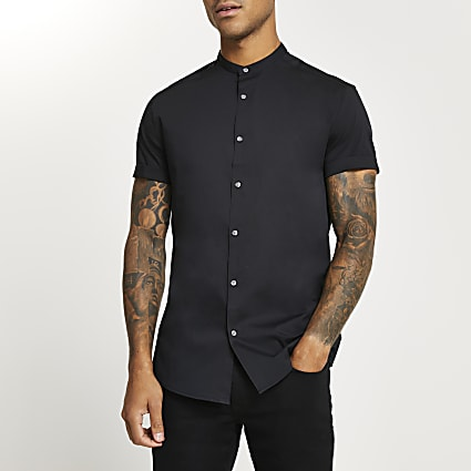 Black muscle fit grandad collar shirt