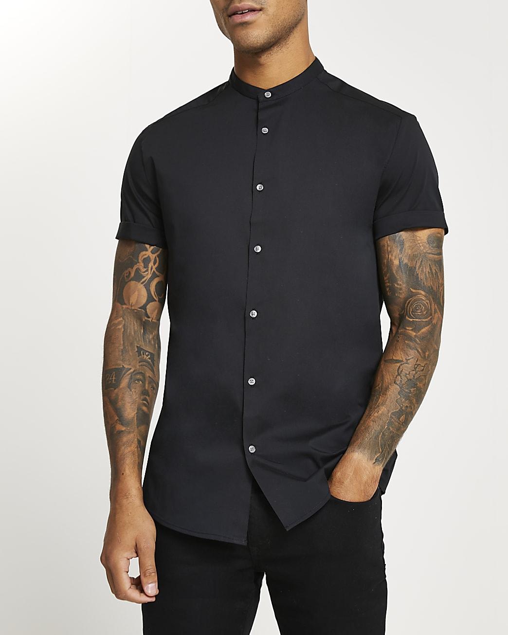 Black muscle fit grandad short sleeve shirt