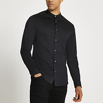 Black muscle fit long sleeve grandad shirt