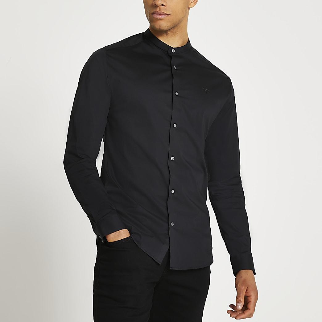 Black muscle fit long sleeve grandad shirt