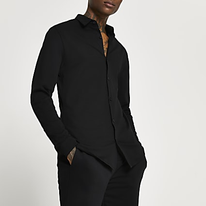 Black muscle fit long sleeve shirt
