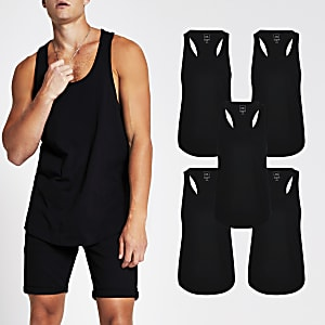 Black muscle fit racer vest 5 Pack