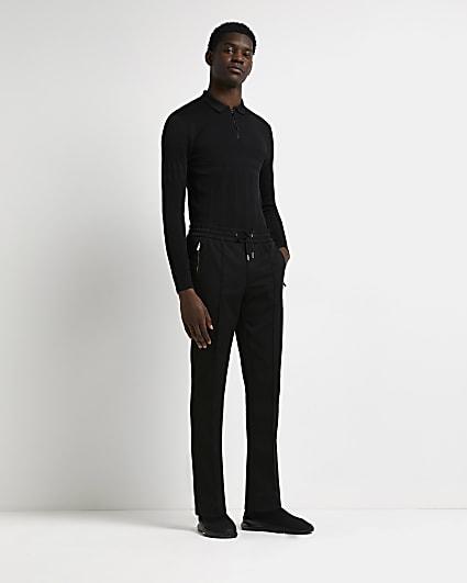 Black muscle fit rib long sleeve polo shirt