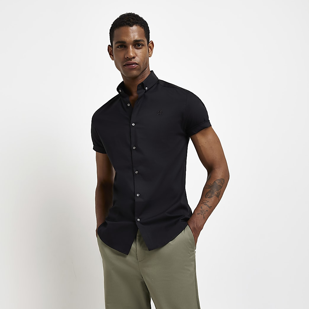 Black muscle fit short sleeve grandad shirt