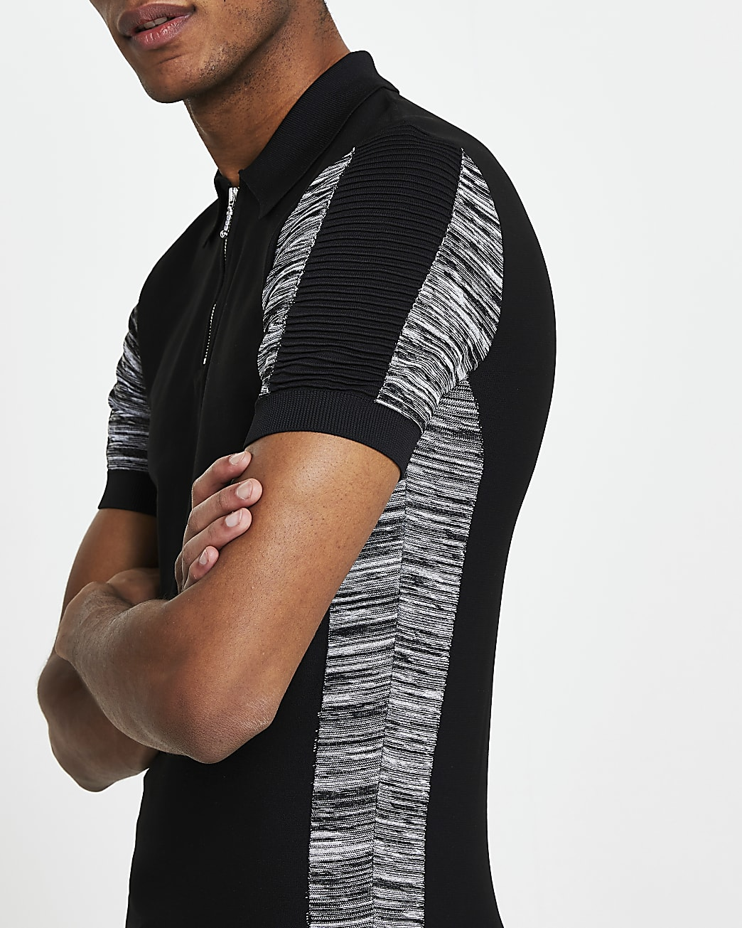 Black muscle fit short sleeve polo shirt