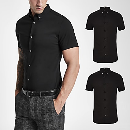 Black muscle fit short sleeve shirt 2 pack
