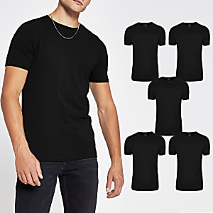Black muscle fit T-shirt 5 Pack