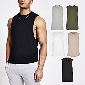 Schwarzes Muscle Fit Tanktop, 5er-Pack