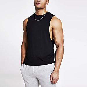 Schwarzes Muscle Fit Tanktop
