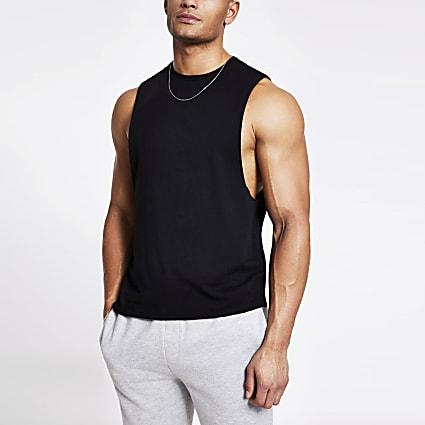 Black muscle fit tank vest