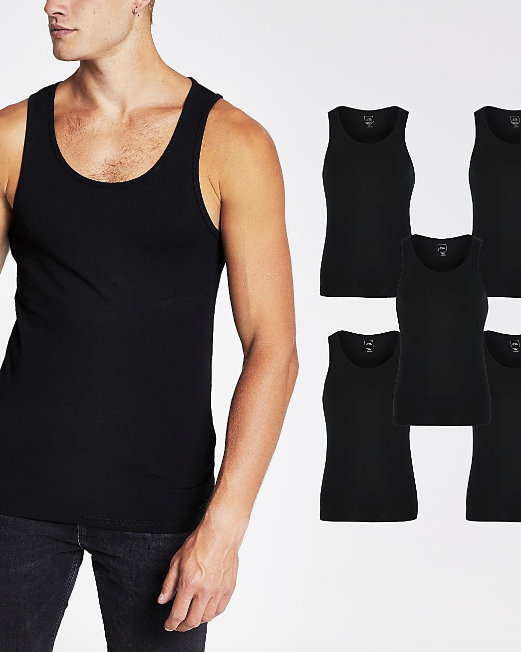 Black muscle fit vest 5 Pack