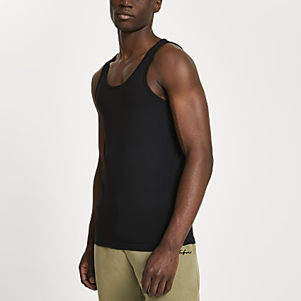 Black muscle fit vest