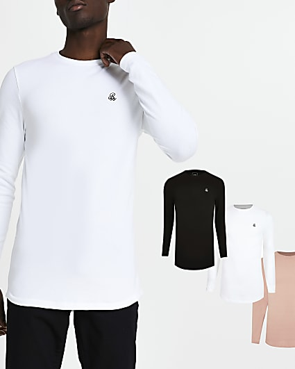 Black muscle long sleeve t-shirt pack of 3