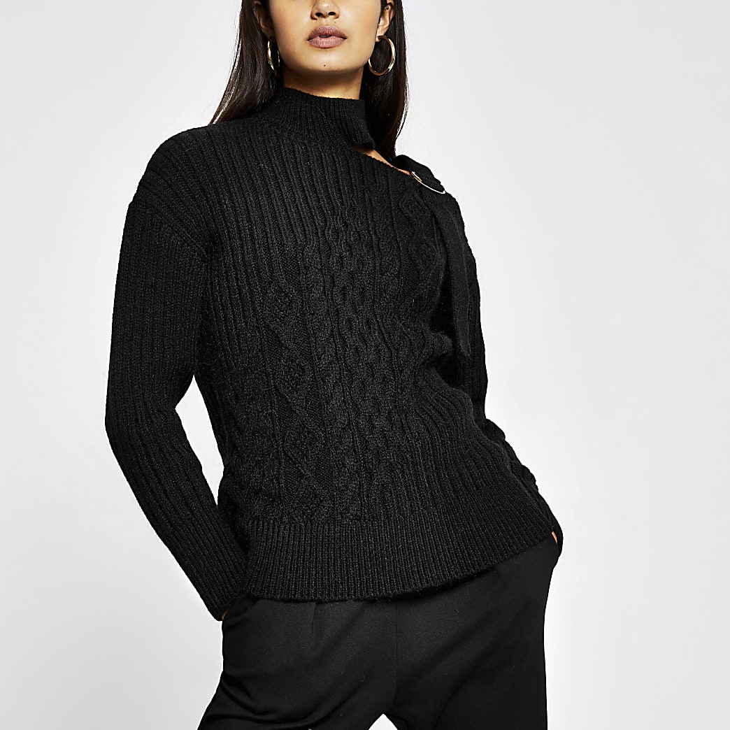 Black neck detail jumper
