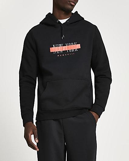 Black New York print hoodie