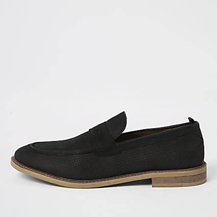 Black nubuck penny loafers