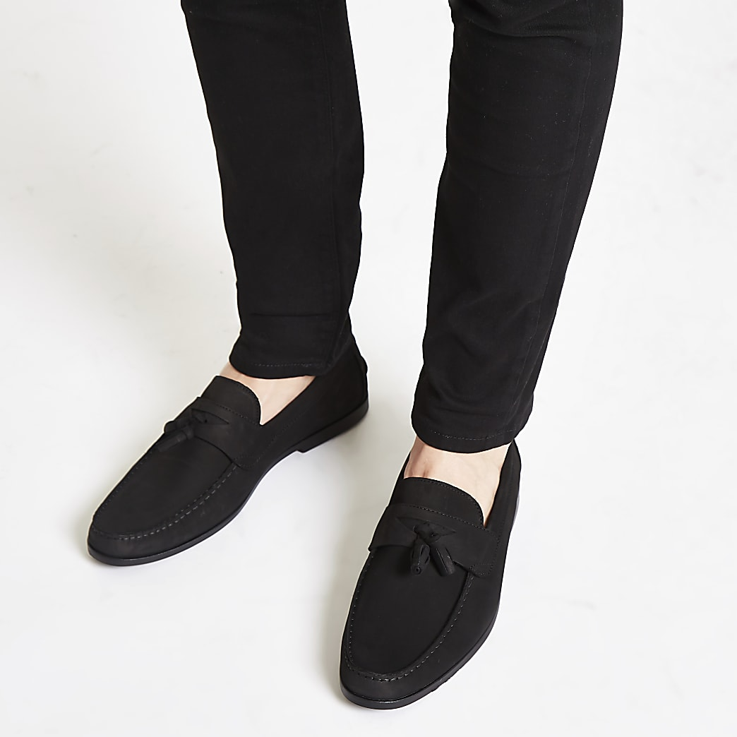 Black nubuck tassel loafers | River Island