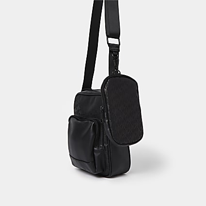 Black nylon cross body & pouch