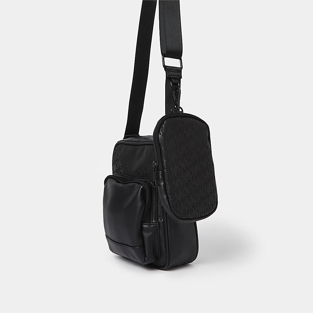 Black nylon cross body & pouch