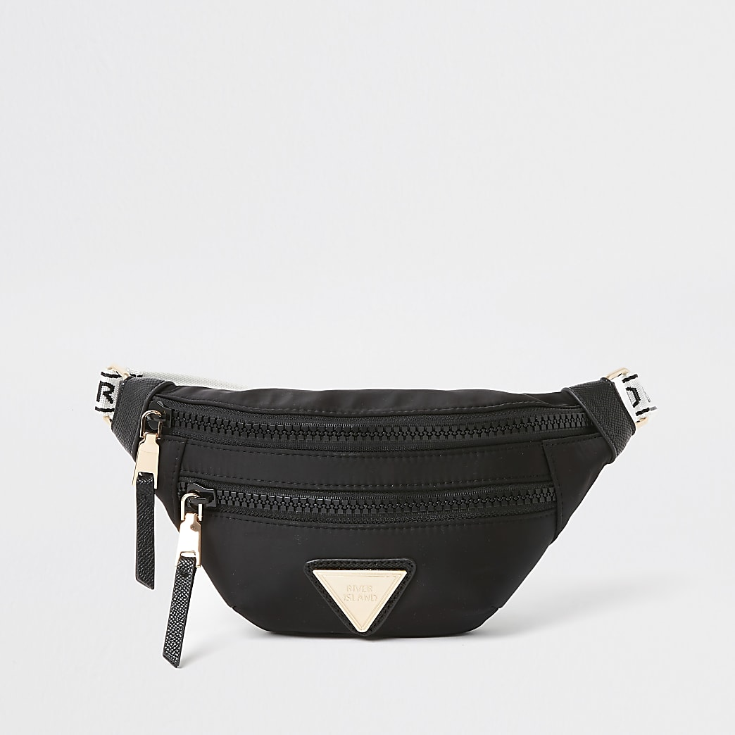 Black nylon double zip bum bag