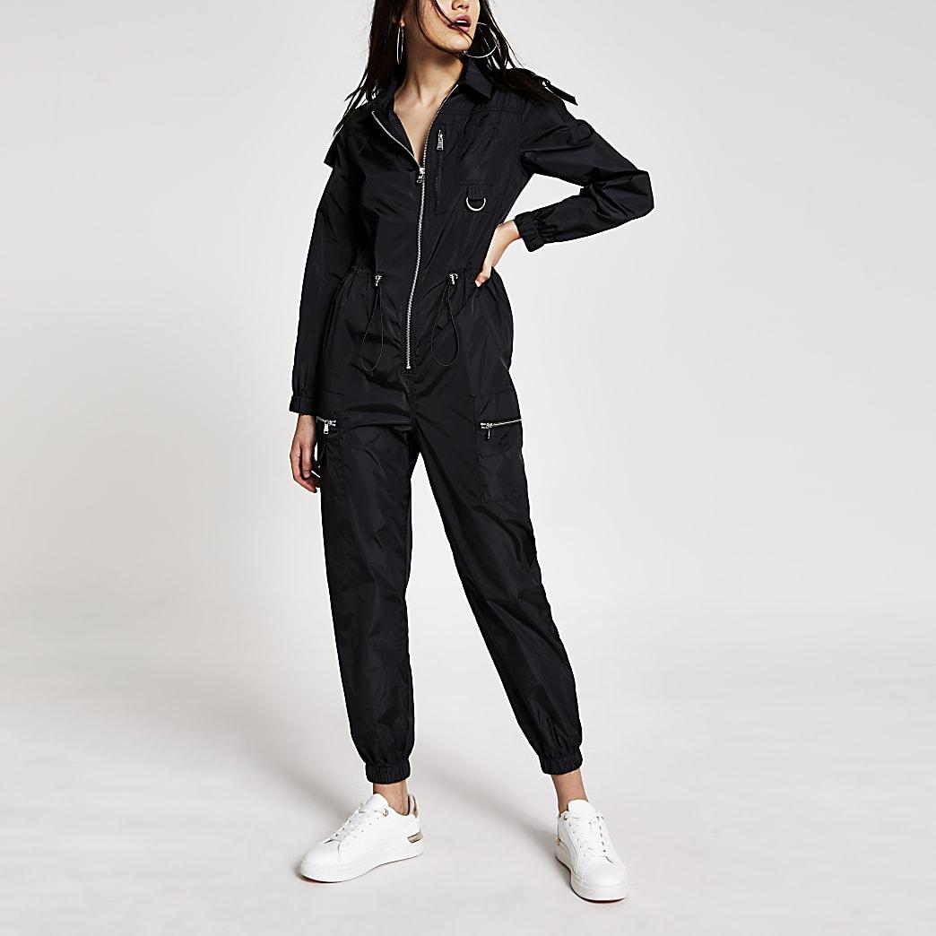 Black nylon drawstring waist boiler jumpsuit