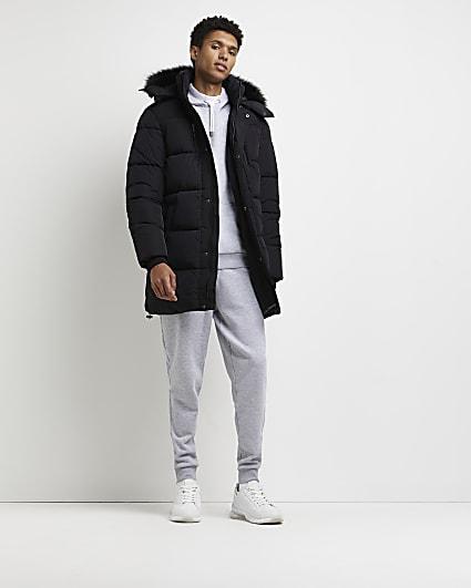 Black nylon fur trim hood puffer parka jacket