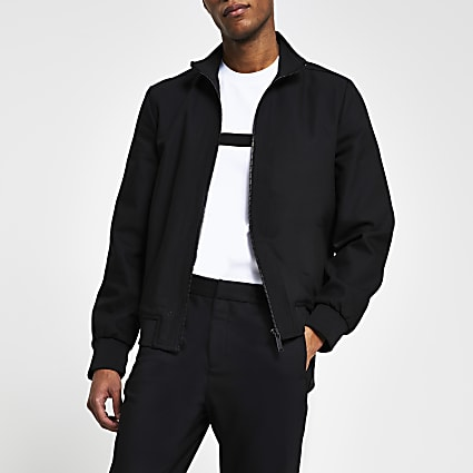 Black nylon panel funnel neck slim fit jacket