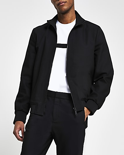 Black nylon panel funnel neck slim fit jacket