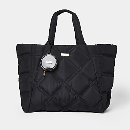 Black nylon quilted puffer shopper bag