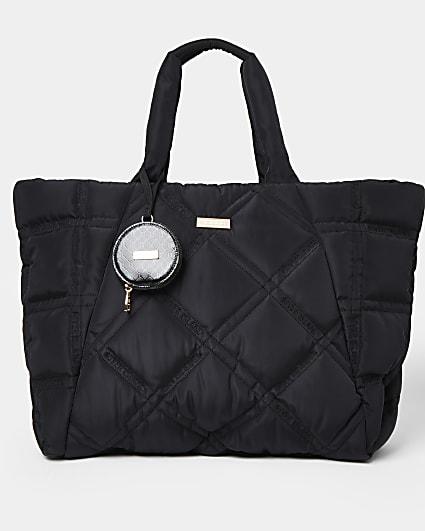 Black nylon quilted puffer shopper bag