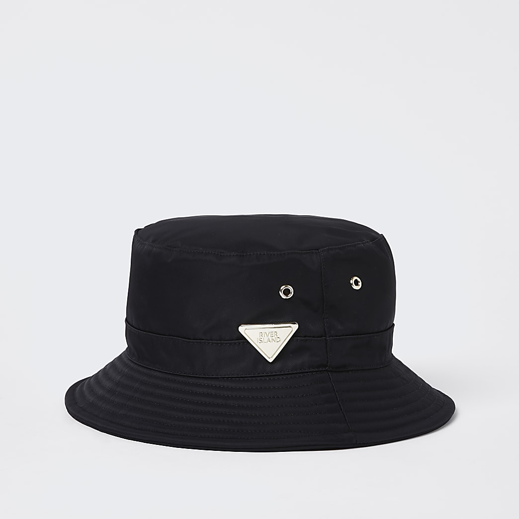 Black nylon RI bucket hat