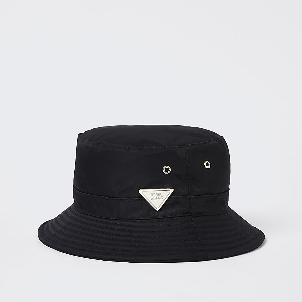 Black nylon RI bucket hat