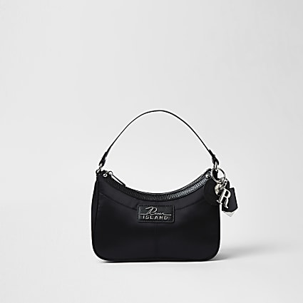 Black nylon scoop shoulder bag