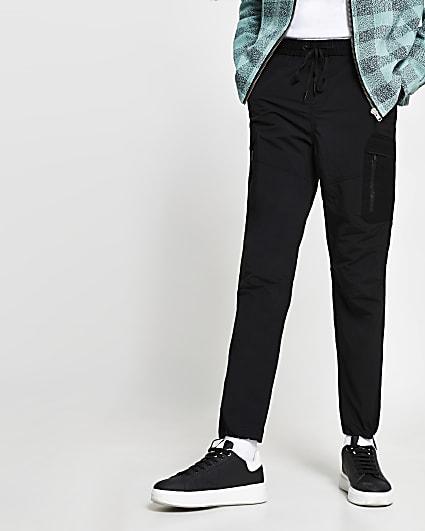 Black nylon zip detail trousers