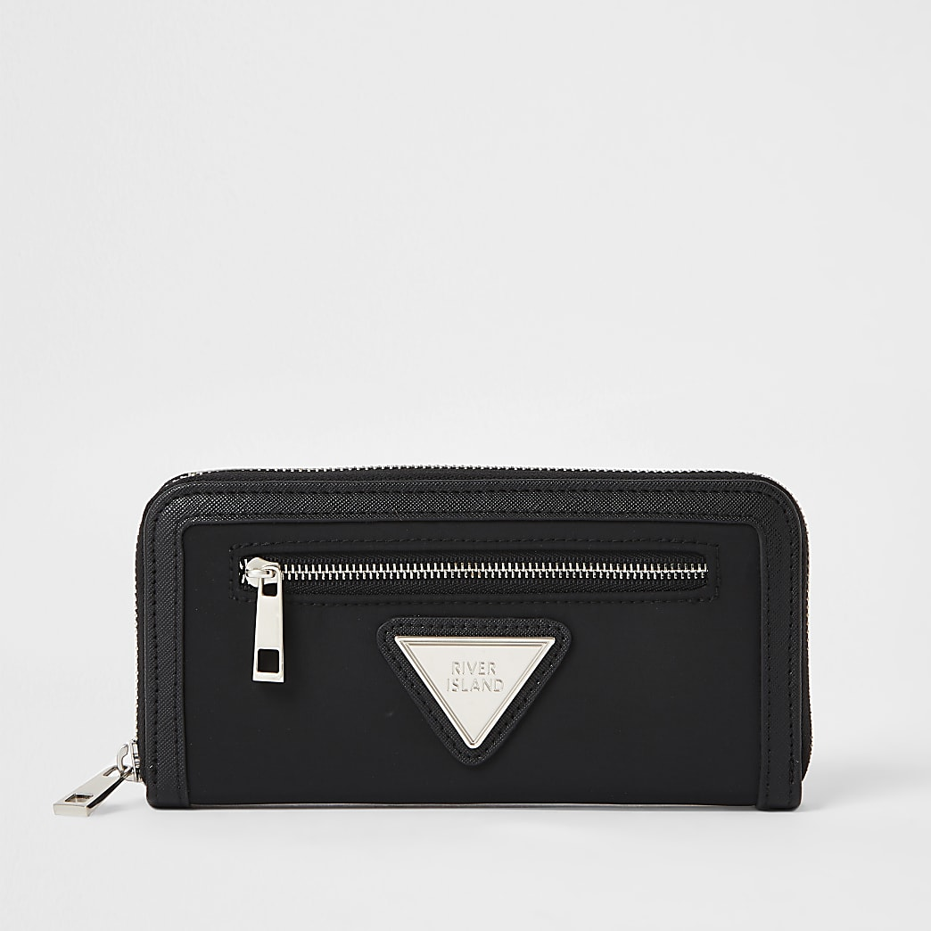 Black Nylon Ziparound Purse