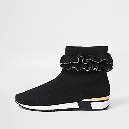 Black OG Ruffle Knit Sock Hi Top