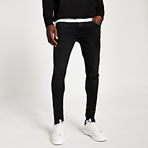 Black Ollie ripped spray on jeans