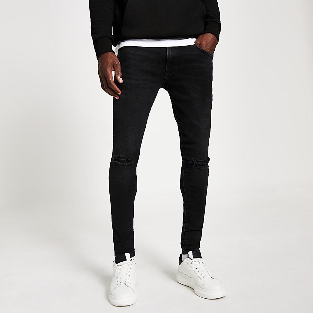 Ollie – Schwarze Spray On Jeans im Used-Look