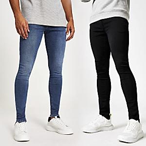 Ollie – Schwarze Skinny Fit Spray-on-Jeans, 2er-Set