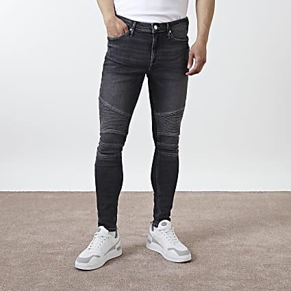 Black Ollie super skinny spray on biker jeans