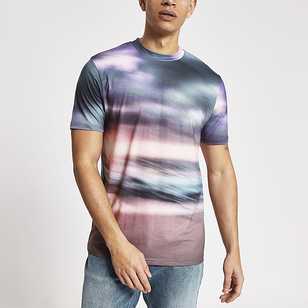 Black ombre print slim fit T-shirt